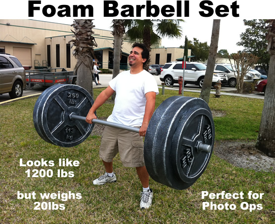 Fake Faux Barbell set weights foam prop