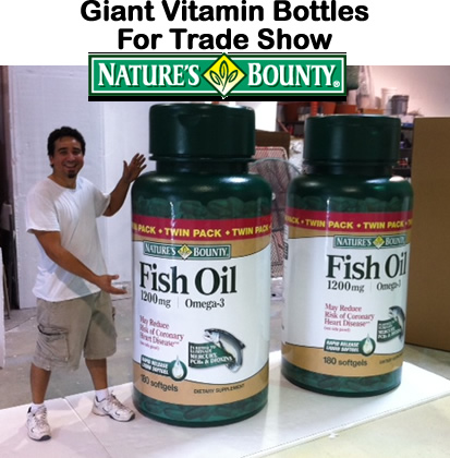 Giant Vitamin Bottles for Natures Bouty Foam Props