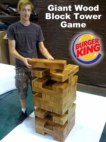 Giant wood tower block game