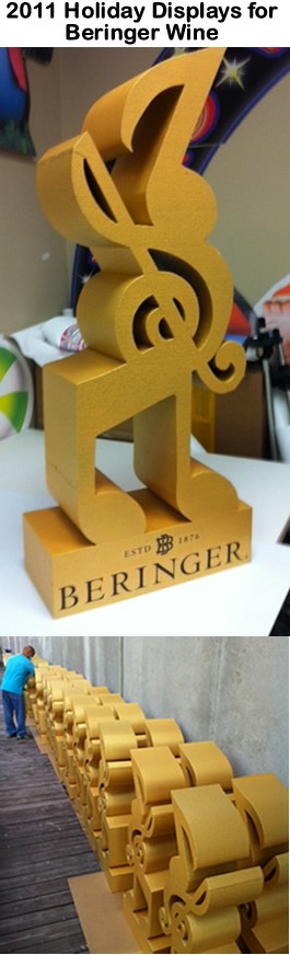 Retail Custom Foam Music Note Display for Beringer Wine