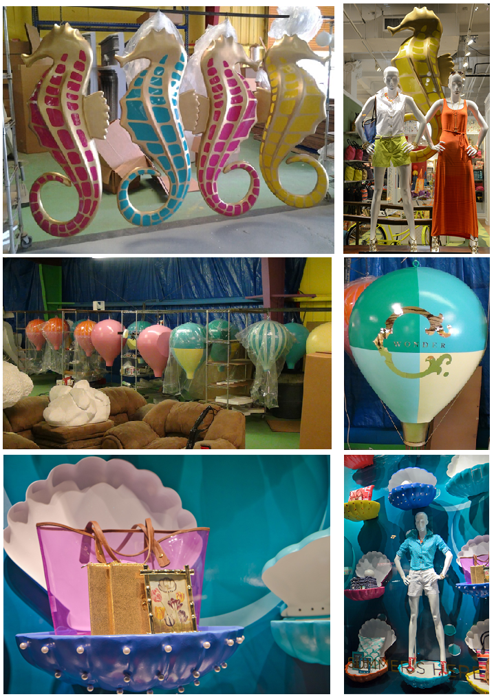 Custom Retail Point of Sale Window Display Foam Sculptured Seahorse Clam Shell and Hot Air Balloon Theme