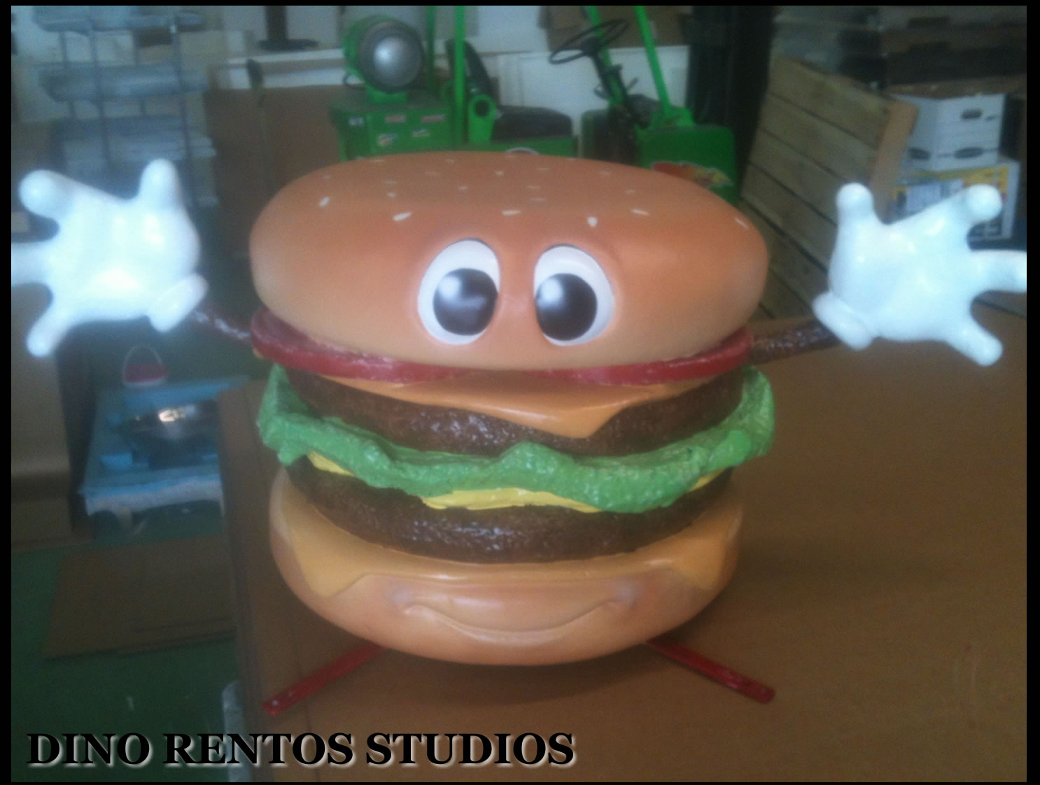 Custom 3D Foam Car Top Sign cheeseburger character Display Prop