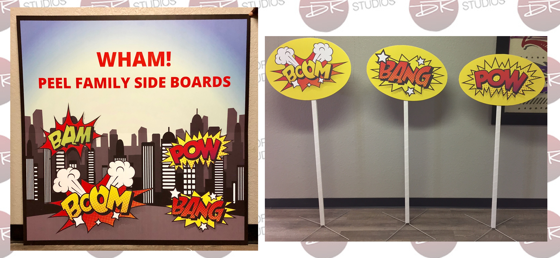 Cardboard Comic Superhero Backdrop Zoom Bang Pow Props for parties