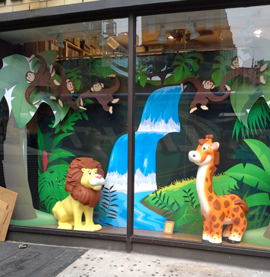 Custom Retail Point of Sale Window Foam Sculptured and Cardboard Display Jungle Safari Theme