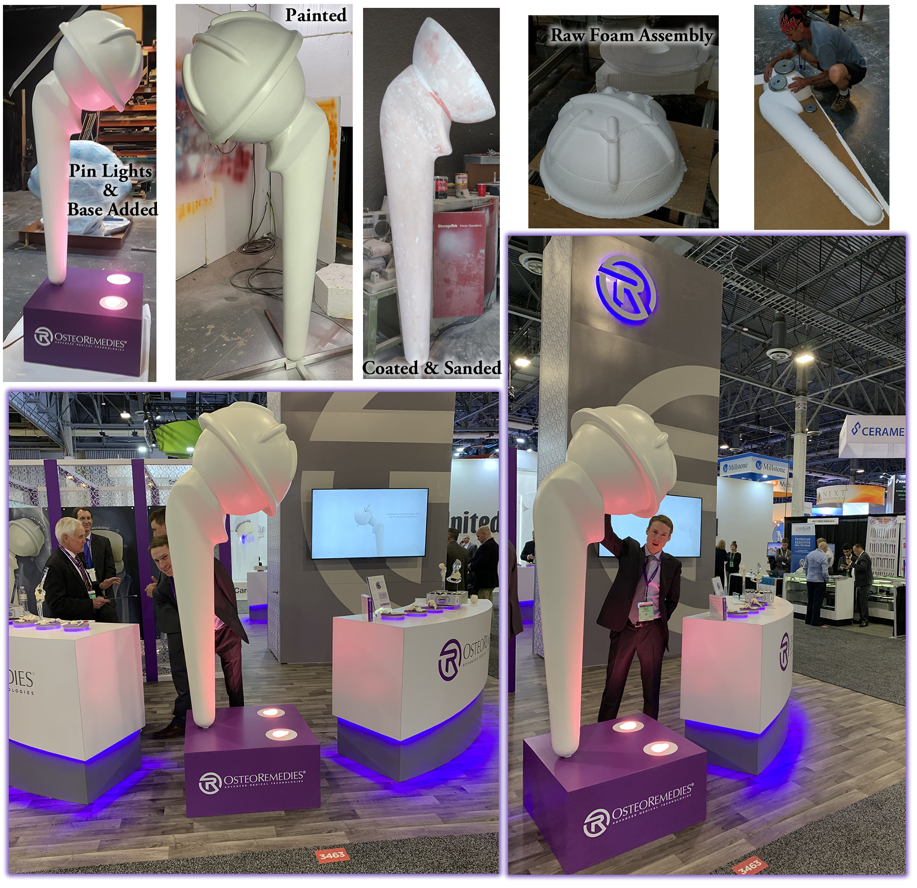 Custom Foam Hip Spacer for Osteoremedies Tradeshow Convention