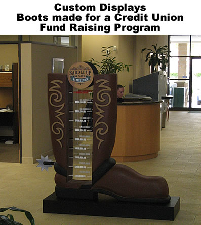 Custom Retail Point of Sale Point of Purchase Display Boot for Credit Union