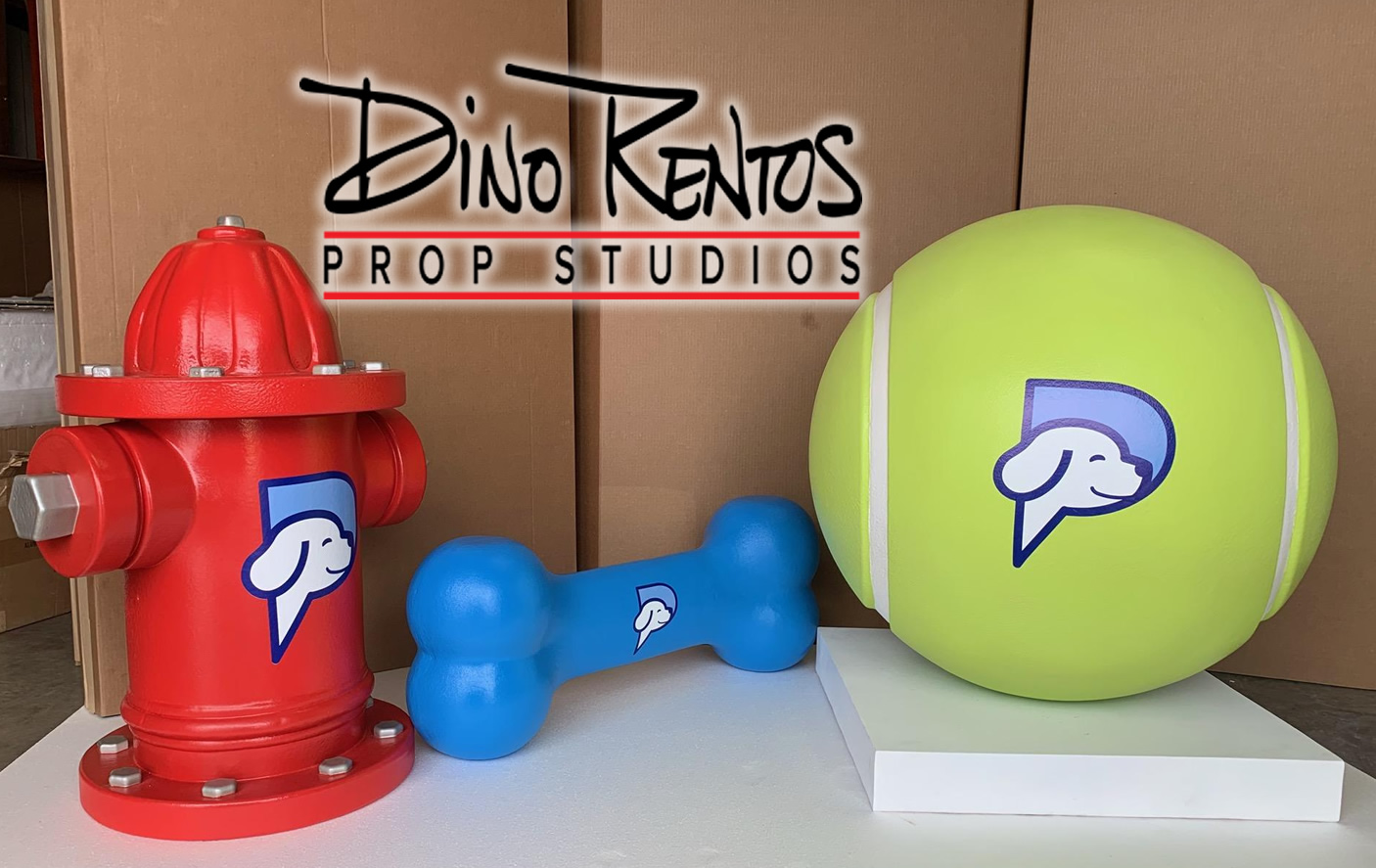 Custom Foam Pet Toys Hydrant Tennis Ball Bone for PetPartners display for tradeshows and events
