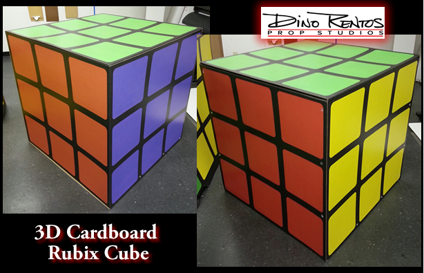3D Cardboard Rubix Cube Cutout Standup Prop and Display