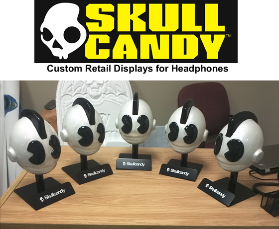 Custom Retail Point of Sale Point of Purchase Foam Sculptured Skulls for Display