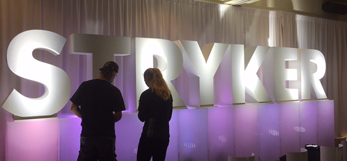 Custom Large Foam Letters STRYKER for Events and Tradeshows